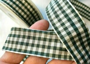 """Vintage Ribbon 7/8"""" wire Check Rayon Spruce Green & White  1yd Made in France"""