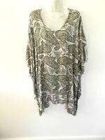 Ladies Maxi Shirt Dress Kaftan Paisley Travel Khaki Cream Poncho One Size New
