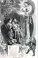 Christmas Story 1881 SANTA CLAUS MARY JESUS CHOIR Matted Antique Print Poem