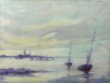 Yves HILLIGOT (1928) Voiliers en Bretagne Huile sur toile Nantes Marine bateau