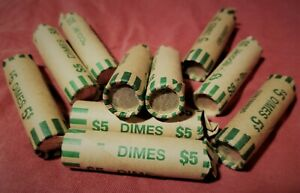 1 Roll of 50, 90% Silver Dimes, $5 Face Value, Average Circulation