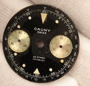 Cauny Landeron 248 Vintage Chronograph Divers Watch Black Tritium Dial