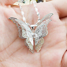Fashion Women's Silver Plated Butterfly Necklace Pendant Jewelry New Arrival
