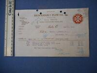 Brown Manly Plow Co. Malta Ohio Genuine MALTA Plow Antique Invoice Letterhead