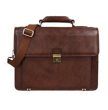 Genuine Leather Portfolio Office Laptop Bag, Document Files Folders Bags (Tan)