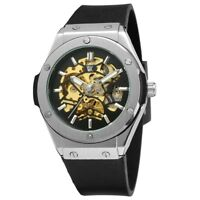 Luxury Men's Skeleton Hand Wind Up Steel Mechanical Wrist Watch WK Timepieces