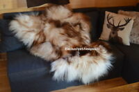 Icelandic Brown-White Genuine Sheepskin Lambskin Sheep skin rug pelt long wool