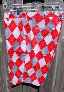 LoudMouth Golf Shorts Red Grey White Argyle Mens 38 VGC Ohio State Colors?