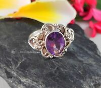 Solid 925 Silver Natural Amethyst Ring Sterling Handmade Rings Women Jewelry