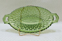 Vintage Green Depression Glass Condiment Pickle Dish Oval Open Handles Honeycomb