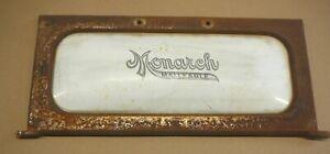 MONARCH MALLEABLE RANGES ANTIQUE COOK STOVE WHITE ENAMEL & CAST IRON DOOR SIGN