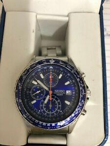 Seiko Chronograph,3 dial good to 100m depth Blue face NIB
