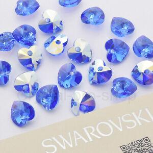 Authentic Swarovski AB Sapphire Heart Pendant (6228) Crystal Rhinestones