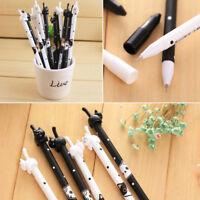2Pcs Cute Kawaii Fun Black White Cat Gel Ink Roller Ball Point Pen Korean School