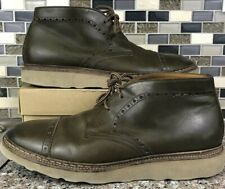 Doucals Men's Italian Chukka Ankle Boots Mens Sz 10.5 EUR 43 Olive Green Leather