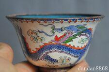 old Chinese pure bronze Cloisonne dragon phoenix bird auspicious statue bowl cup
