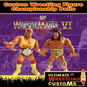WWF Custom Wrestling Belts Wrestlemania 6 Set Hasbro / Mattel / Jakks Figures