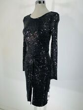 Vicky Tiel NWT Red Carpet Black Long Formal Sequined Elegant Dress Faux Wrap 0,2