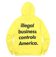 New Supreme Illegal Business Hooded Sweatshirt Lemon Sz Medium SS18 In Hand