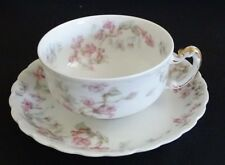 Haviland Limoges France Schleiger 32 Tea Cup and Saucer -Pink Blue Floral