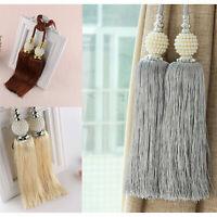 2x Curtain Tie Backs Beaded Ball Tassel Rope HoldBacks Home Decor Tieback Gifts
