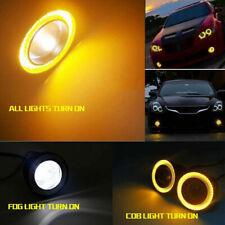 2pcs High Power LED Projector Fog Light Amber COB Halo Angel Eye Ring Universal