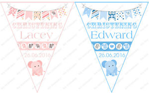 PERSONALISED BOYS AND GIRLS ELEPHANT CHRISTENING DAY VINTAGE STYLE BUNTING L@@K