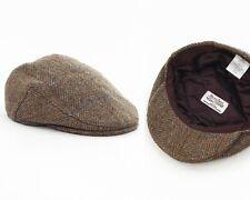 Mens HARRIS TWEED Wool Cabbie Newsboy Flat Hat Cap Green One Size