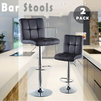 Set Of 2 Bar Stools Pu Leather Adjustable Swivel Pub Dining Chair Kitchen Black