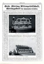 Körting U-Boot Motoren Körtingsdorf XL Reklame 1917 Hannover Linden Werbung WK 1