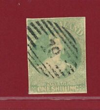 New Zealand 1861 #10, 1sh Blue Green, 4 Margins, Unwmk, Used, SCV $2,000.00