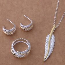 Necklace Ring Earrings Fern Leaf Jewellery Set Ladies 925 Sterling Silver Plated