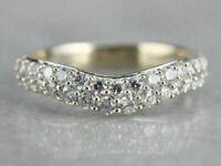 14k White Gold Over 1.00Ct Round Diamond Curved Wedding Anniversary Band Ring