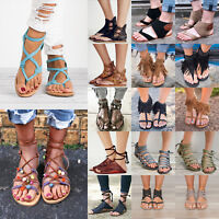 Womens Gladiator Sandals Shoes Thong Flip Flops Flat T Strap Size Strappy Toe US