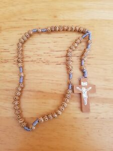 BROWN WOOD CARVED KNOTTED CORD ROSARY CATHOLIC