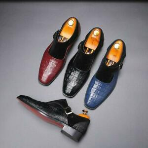 Men's Crocodile Splicing Monk Strap Business Formal Dress Loafers Shoes