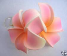 Hawaiian Bridal Wedding Party Foam 2-Flower Hair Clip Pink Org/Yellow Plumeria