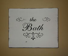 Shabby Chic Vintage Primitive Black And White Bathroom Bath Sign Wall Decoration