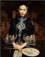 Art Oil painting Chinese Qing Dy noblelady portrait with fan standing on canvas
