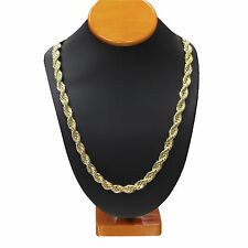 """Mens Dookie 14K Gold,Silver,Black Plated Steel Necklace Rope Chain 10mm 30"""" Inch"""