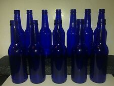 Nice Lot of 12 Cobalt Blue Glass Beer Bottles For Vases, Crafts, Bottle Trees