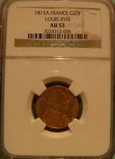 France 1815A Gold 20 Francs NGC AU-53 LOUIS 18