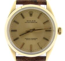Mens Rolex 14K Gold Shell Oyster Perpetual No-Date Watch Champagne Brown 1024