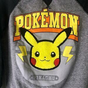 Pokemon Boys Pullover Sweatshirt Sz Small Pikachu Gray Grey EUC