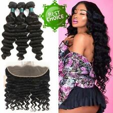 Loose Deep Weave Bundles with Frontal 12A Peruvian Human Hair weft TOP Quality