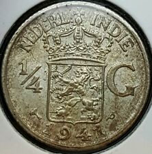 1941 P East Indonesia Netherlands 1/4 Gulden Silver Coin WWII Era KM#319 B
