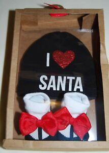 NIB Baby Essentials Infant Girls Black I Love Santa Hat & Socks Set size 0-6M