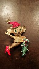 VINTAGE MULY RHINESTONE MOUSE  CHRISTMAS PIN FREE SHIPPING