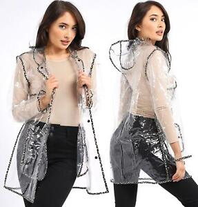 Womens Transparent Rain Mac Waterproof Raincoat Leopard Jacket Size 10 - 16