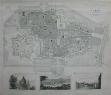 TURIN CITY PLAN, TURINO, ITALY, original antique map, SDUK, 1844
